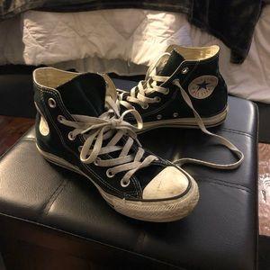 Perfectly worn black hightop converse
